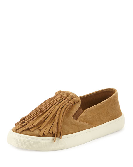 Tory Burch Fria Fringe Suede Slip-On Sneaker, Raw