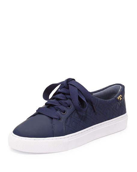 Marion Quilted Leather Low-Top Sneaker, Bright Navy