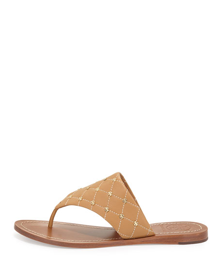 Quilt-Stitch Studded Thong Sandal, Blond/Ecru