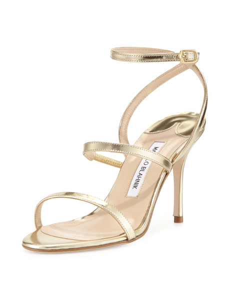 Manolo Blahnik Didin Metallic Strappy High-Heel Sandal, Gold