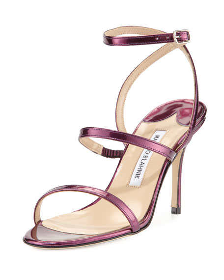 Manolo Blahnik Didin Metallic Strappy High-Heel Sandal, Purple