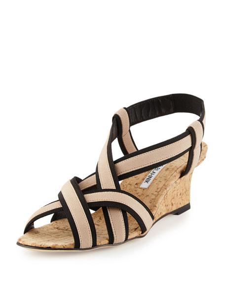 Manolo Blahnik Lasti Elastic Crisscross Wedge Sandal, Nude/Black
