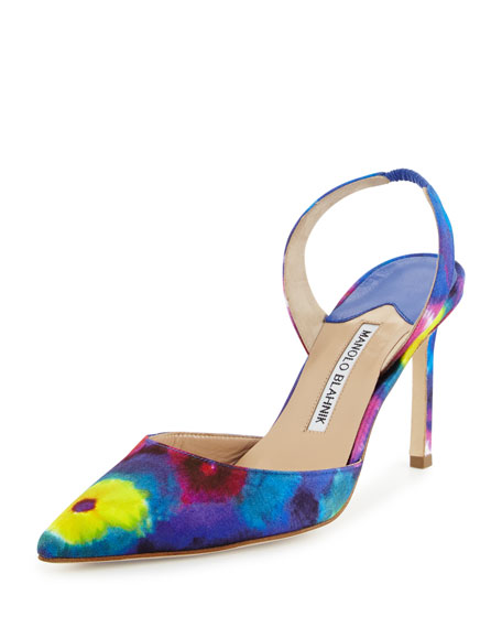 Manolo Blahnik Carolyne Tie-Dye High-Heel Pump, Multicolor