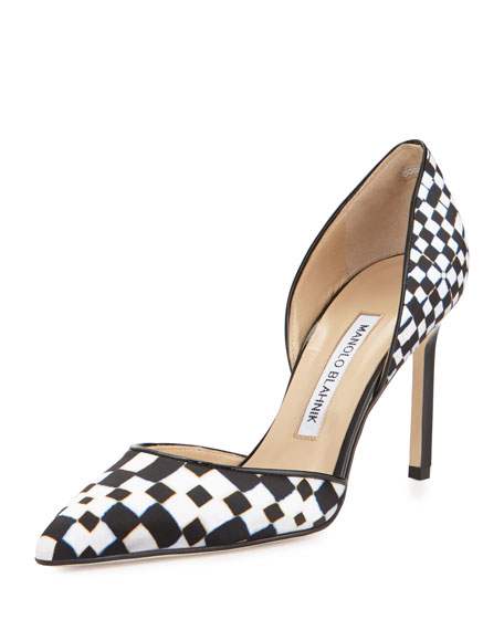 Manolo Blahnik Tayler Printed Pointed d'Orsay Pump, Black/White