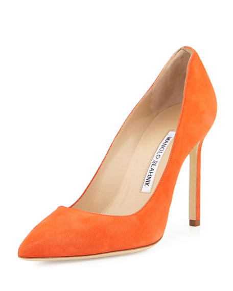 Manolo Blahnik BB Suede 105mm Pump, Orange