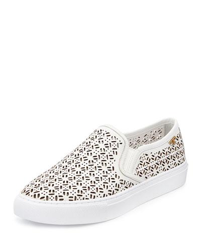 Lennon Laser-Cut Slip-On Sneaker, White