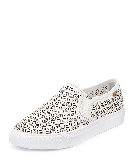 Tory Burch Lennon Laser-Cut Slip-On Sneaker, White