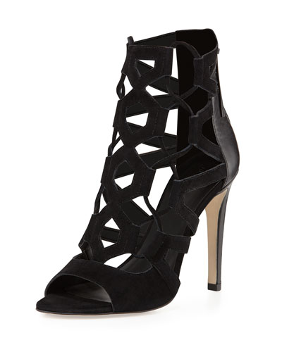 Roxie Caged Suede/Leather Sandal, Black