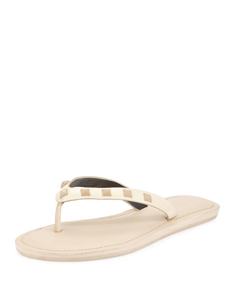 Rebecca Minkoff Fiona Studded Thong Sandal, Nude