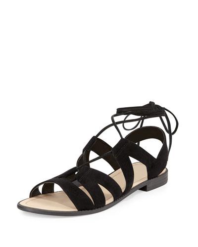 Greyson Suede Lace-Up Sandal, Black