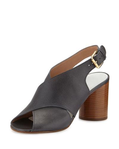 Cone-Heel Crisscross Leather Sandal, Navy