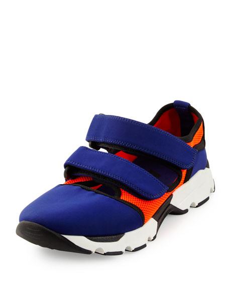 Marni Double Grip-Strap Sneaker, Blue/Orange