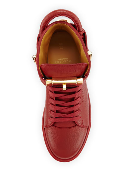 Women's Padlock & Key Pebbled Leather Sneaker, Red