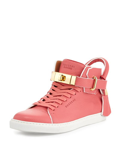 100mm Belted Patent High-Top Sneaker, Nude