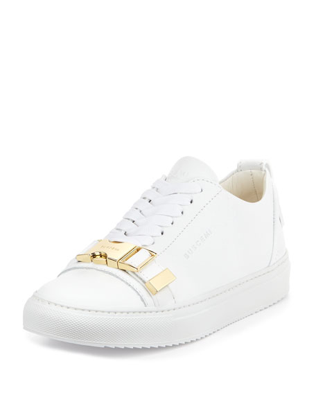 Buscemi Belted-Toe Leather Tennis Sneaker, White