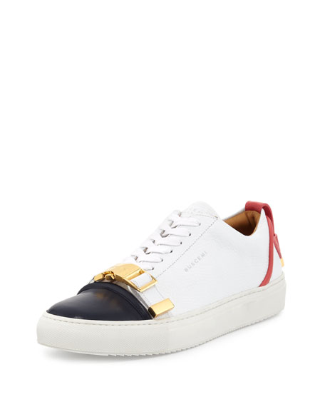 Buscemi Belted-Toe Leather Sneaker, White/Coral/Ocean
