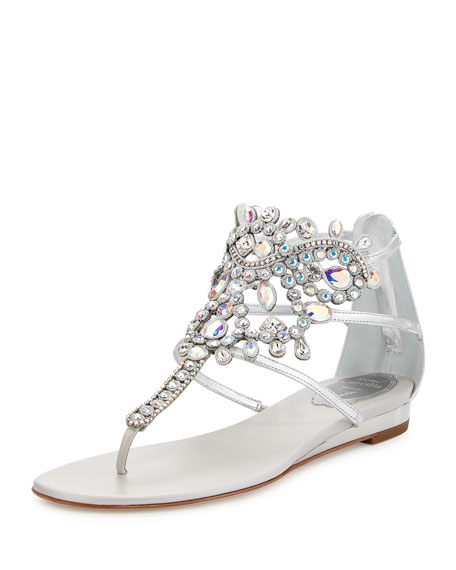 Rene Caovilla Crystal-Chandelier Thong Sandal, Argento/Crystal