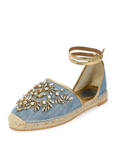 Strass & Denim Ankle-Wrap Espadrille Sandal, Blue
