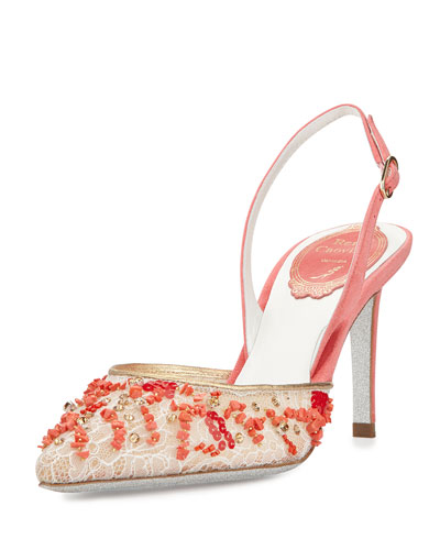 Lace Pointed Slingback Pump, Coral