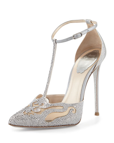 Crystal T-Strap Pointed-Toe Pump, Silver
