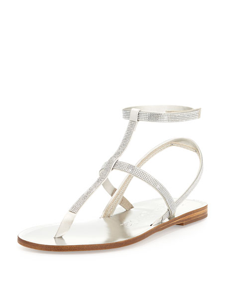 Pedro Garcia Ilania Crystal-Embellished Flat Sandal, Platinum