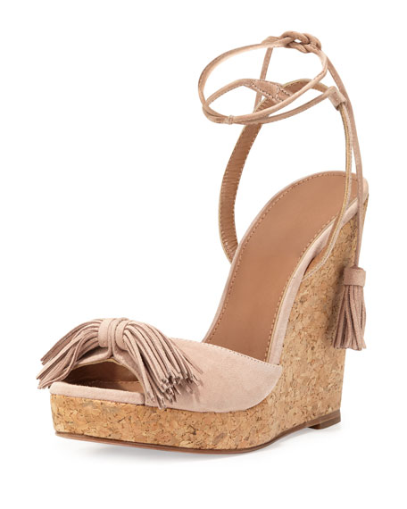 Aquazzura Wild One Tassel Wedge Sandals Neiman Marcus