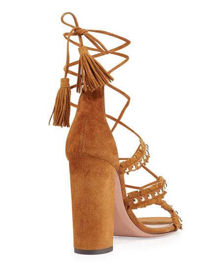 Tulum Fringed Suede Sandal, Cognac