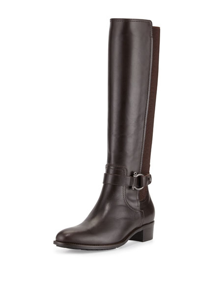 Aquatalia Odina Leather Stretch-Back Boot, Brown