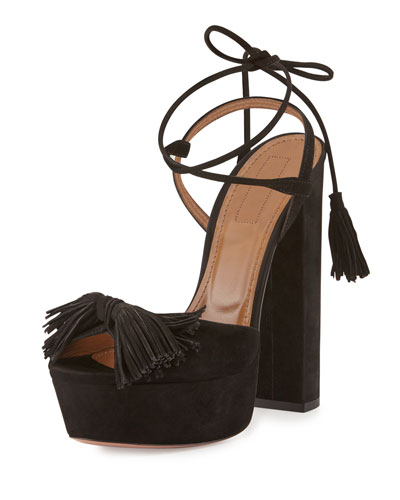 Wild One Tassel 140mm Sandal, Black