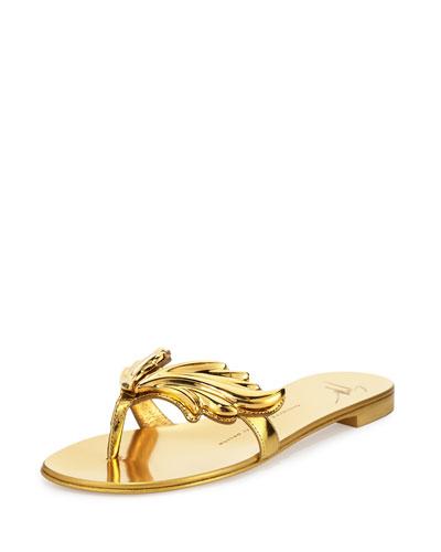 Flame Metallic Flat Thong Sandal, Oro