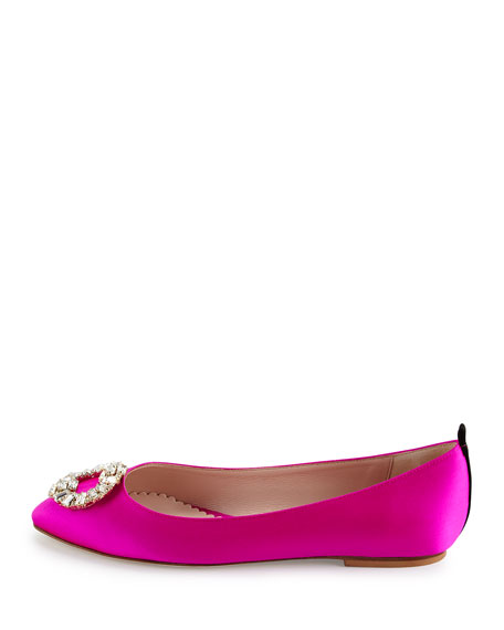 Betty Satin Crystal-Buckle Flat, Fuchsia