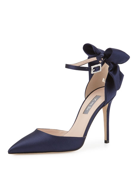 Trance Satin Bow Ankle-Wrap Pump, Navy