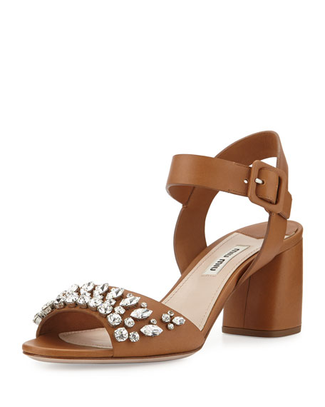 Miu Miu Crystal Leather City Sandal, Naturale