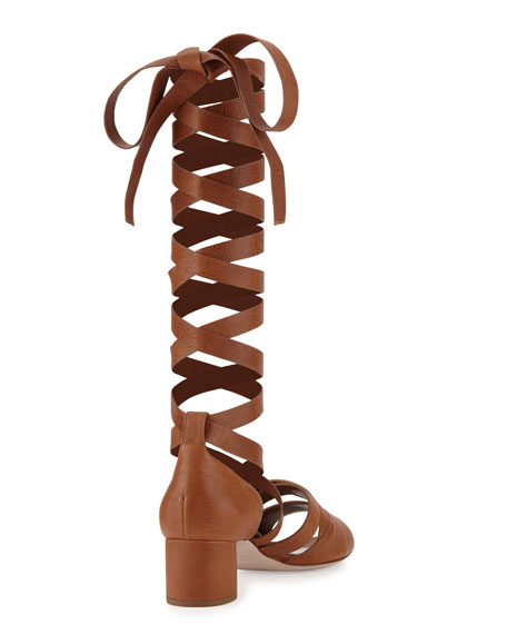 Leather Ankle-Wrap Gladiator Sandals, Cuoio