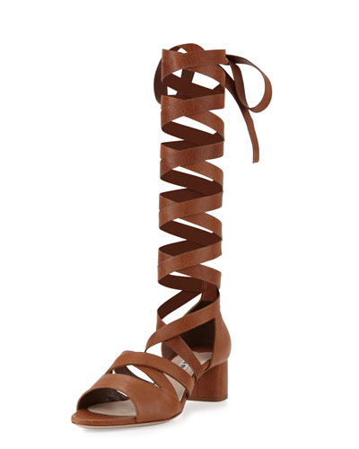 Leather Ankle-Wrap Gladiator Sandal, Cuoio