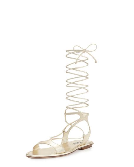 Miu Miu Metallic Strappy Gladiator Flat Sandal, Pirite