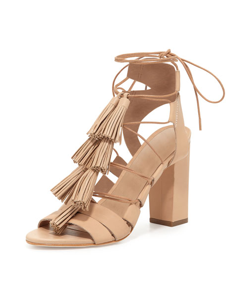 Loeffler Randall Luz Tassel Lace-Up Leather Sandal, Wheat