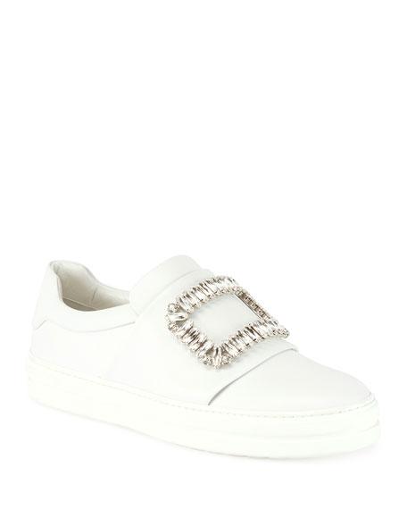 Roger Vivier Leather Pilgrim Buckle Sneaker, White (Bianco)