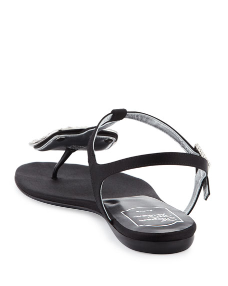 Thong Chips Flat Satin Sandals, Black (Nero)
