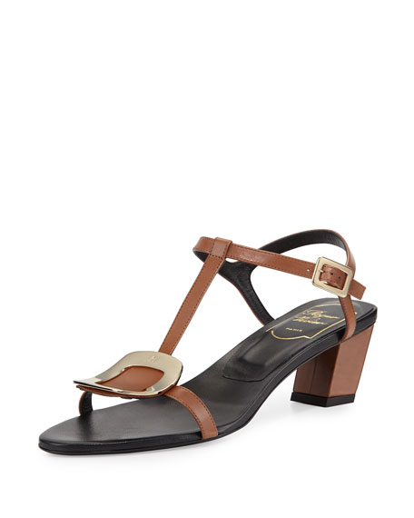 Roger Vivier Chips Leather T-Strap Sandal, Cognac Scuro