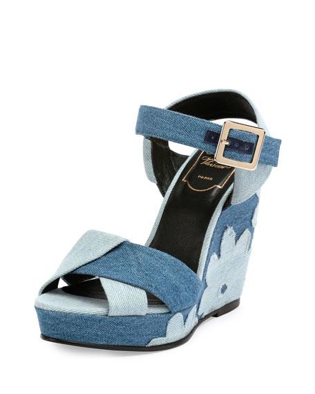Roger Vivier Patchwork Denim Wedge Sandal, Baltic Chiaro/Air