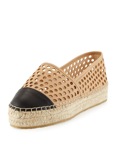 Mariko Perforated Leather Flat, Buff/Black