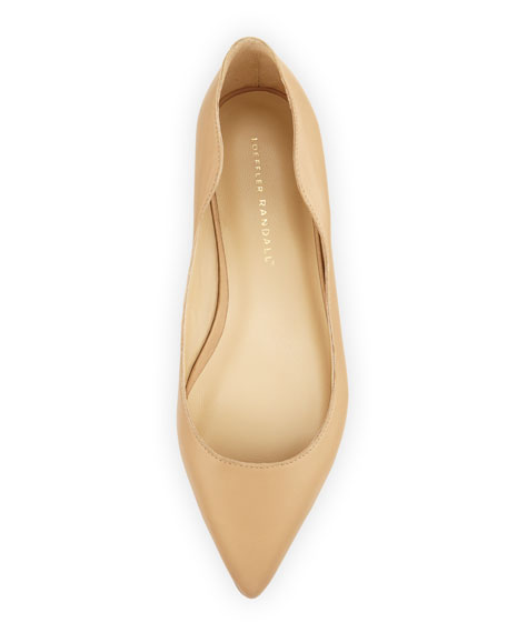 Milla Wavy Pointed-Toe Flat, Wheat