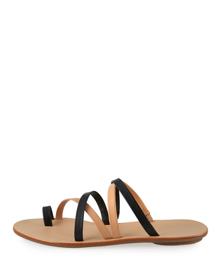 Sarie Leather Toe-Ring Flat Sandal, Black/Buff