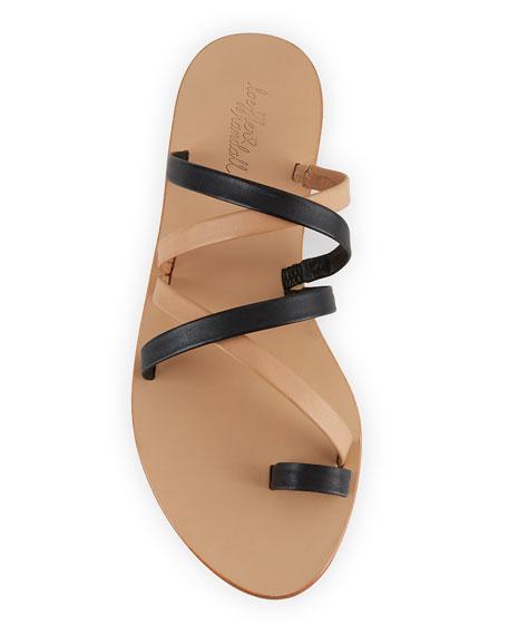 Loeffler Randall Sarie Leather Toe-Ring Flat Sandal, Black/Buff
