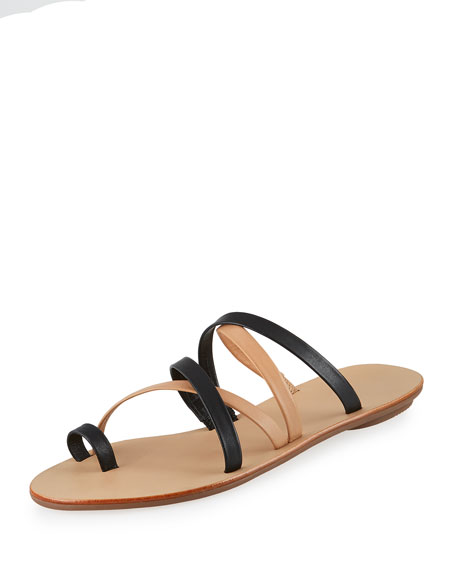 Loeffler Randall Sarie Leather Toe-Ring Flat Sandal, Black/Buff