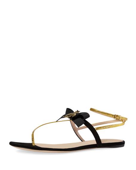 Gucci Moody Bow Thong Sandal, Nero/Oro