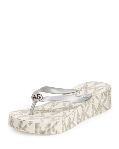 MICHAEL Michael Kors Bedford Logo-Print Wedge Thong Sandal, Silver