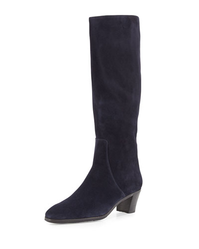 Suede Side-Zip Knee Boot, Navy