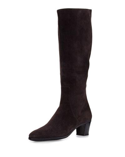 Suede Side-Zip Knee Boot, Gray